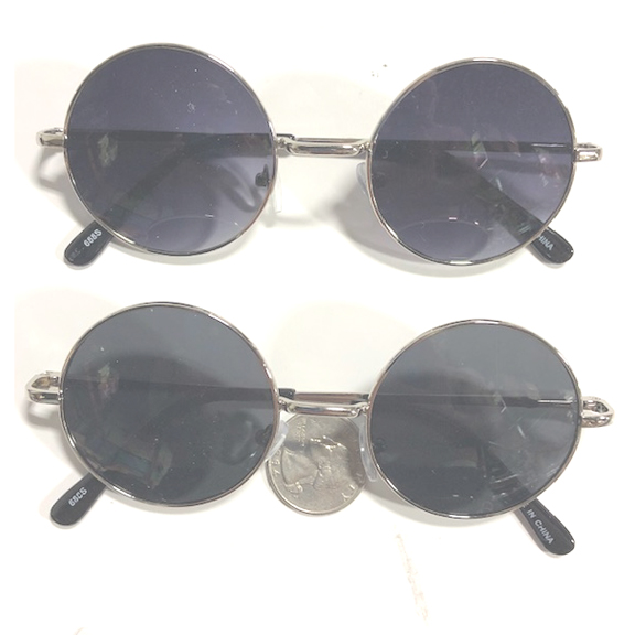 LENNON SIZE SILVER COLOR,  SPRING TEMPLE QUALITY SUNGLASSES