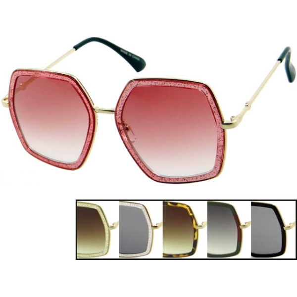 COOL SHAPE, GLITTER EDGE LOOK METAL ARMS SUNGLASSES