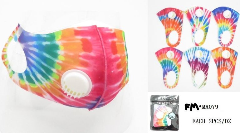 FACE MASK, TYE DYE WITH AIR VALVE